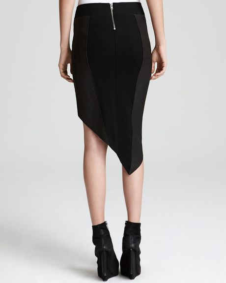 helmut lang leather skirt with uneven hem in black lyst