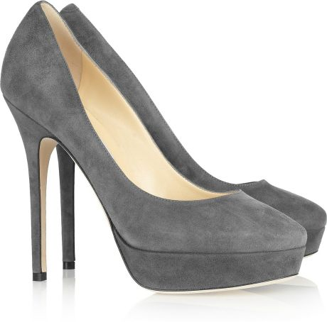 Jimmy Choo Cosmic Suede Pumps in Gray - Lyst
