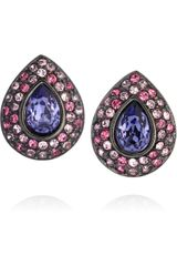 Kenneth Jay Lane Gold Plated Swarovski Crystal Clip Earrings - Lyst