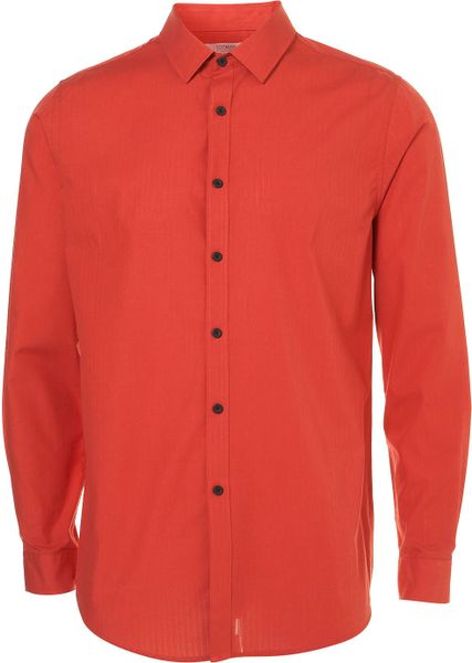 Long  Woven Stripe Smart Shirt in Red for Men - Lyst