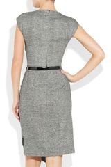 Michael Kors Draped Wool and Silkblend Tweed Dress in Gray (black) - Lyst