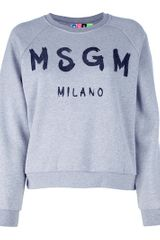 Msgm Printed Sweatshirt in Gray (grey) - Lyst