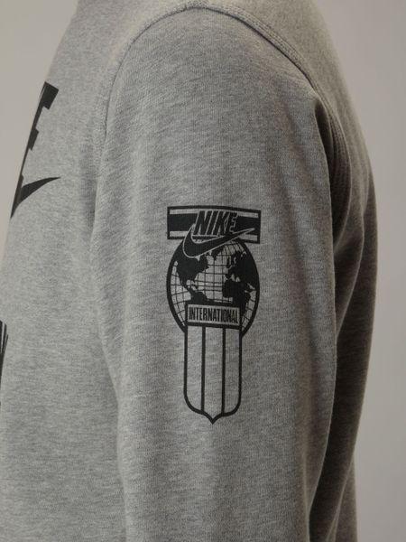 nike international logo sweat shirt in gray for men grey. Black Bedroom Furniture Sets. Home Design Ideas