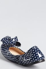 Prada Prada Sport Royal Blue Patent Leather Polka Dot Bow Detail Ballet Flats in Blue - Lyst