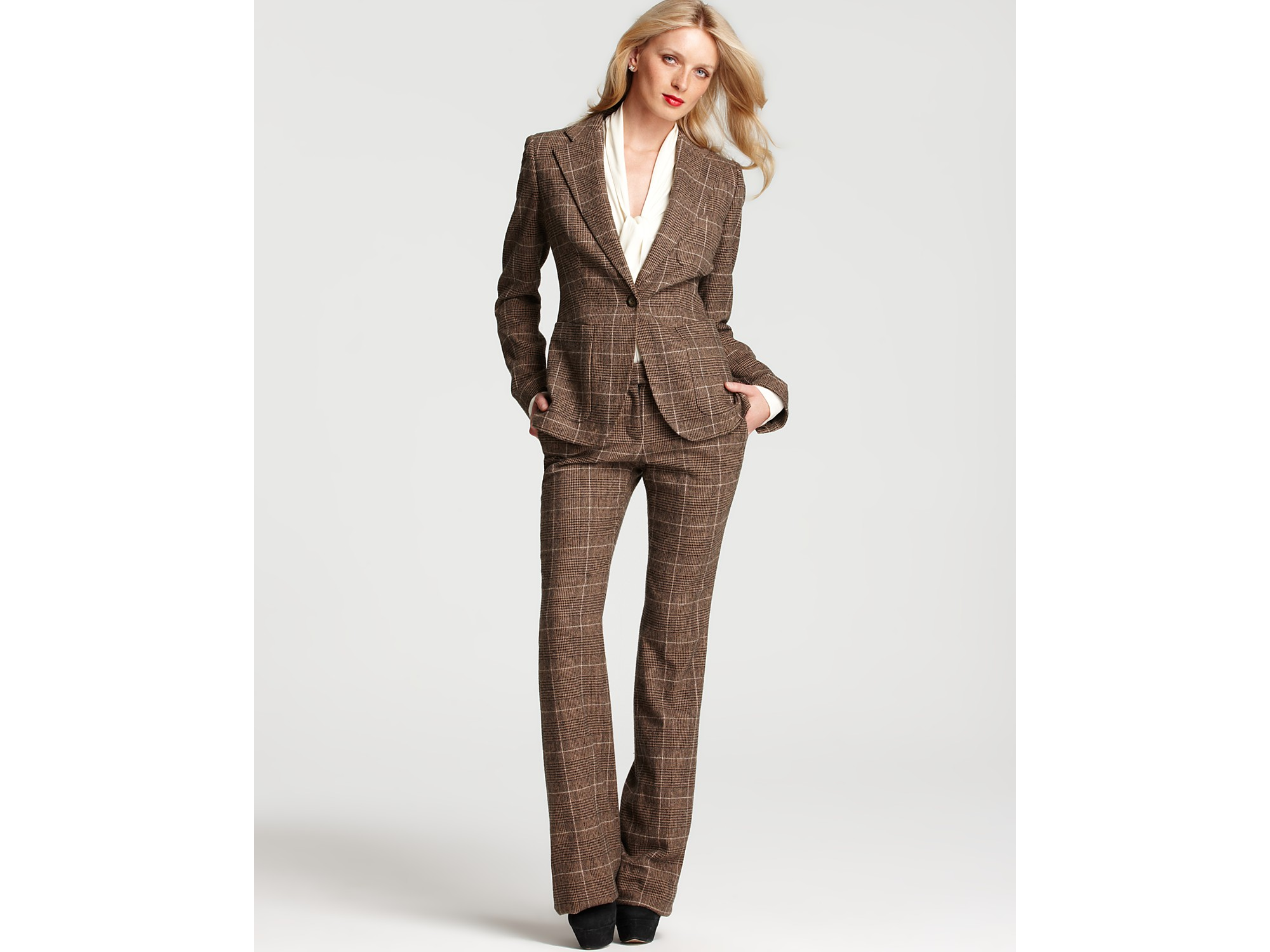 Rachel zoe Houndstooth Bootcut Pants in Brown | Lyst