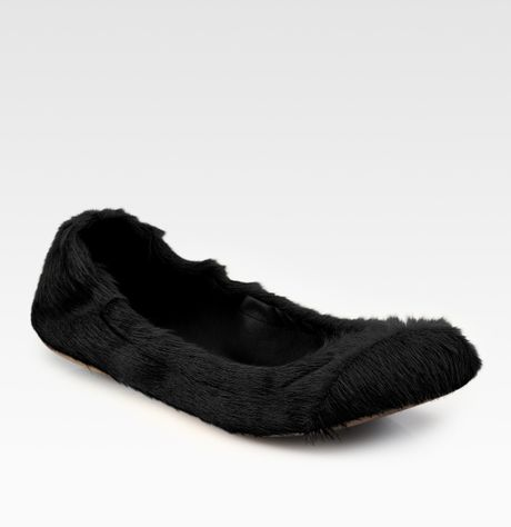 See By Chloé Calf Hair Ballet Flats in Black - Lyst