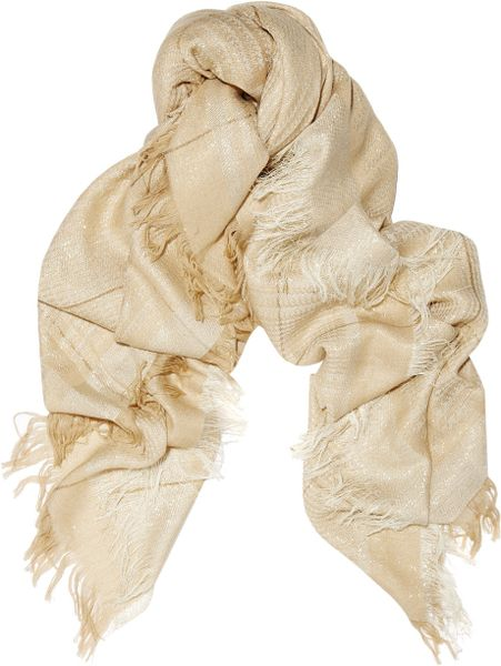 Stella Mccartney Metallic Woolblend Scarf in Beige - Lyst