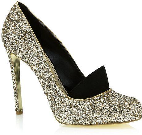 Stella Mccartney Bon Bon Glitter Shoe in Gold