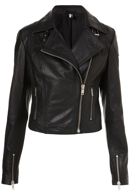 Lyst Topshop Skull Studded Leather Biker Jacket In Black