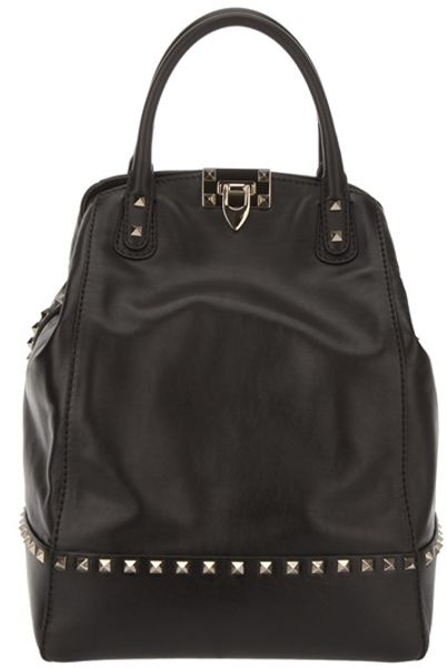 Valentino Studded Tote in Black - Lyst