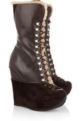Yves Saint Laurent Ariane Shearling and Suede Platform Boots - Lyst