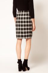 Asos Collection Asos Check Twisted Pencil Skirt in Black (blackwhite) - Lyst