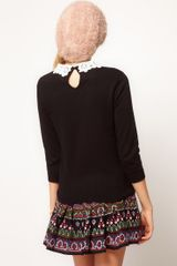 Asos Collection Asos Lace Collar Jumper in Black - Lyst