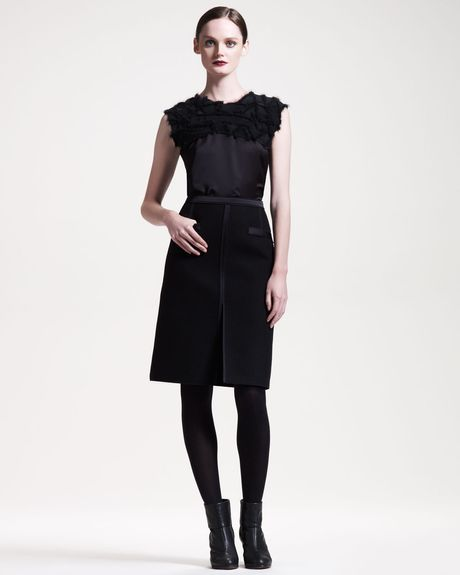 Bottega Veneta Slit Front Skirt in Black (nero) - Lyst