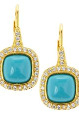 Cz By Kenneth Jay Lane Pave Turquoise Drop Earrings - Lyst