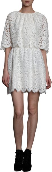 Dolce & Gabbana Lace Cape Mini Dress - Lyst