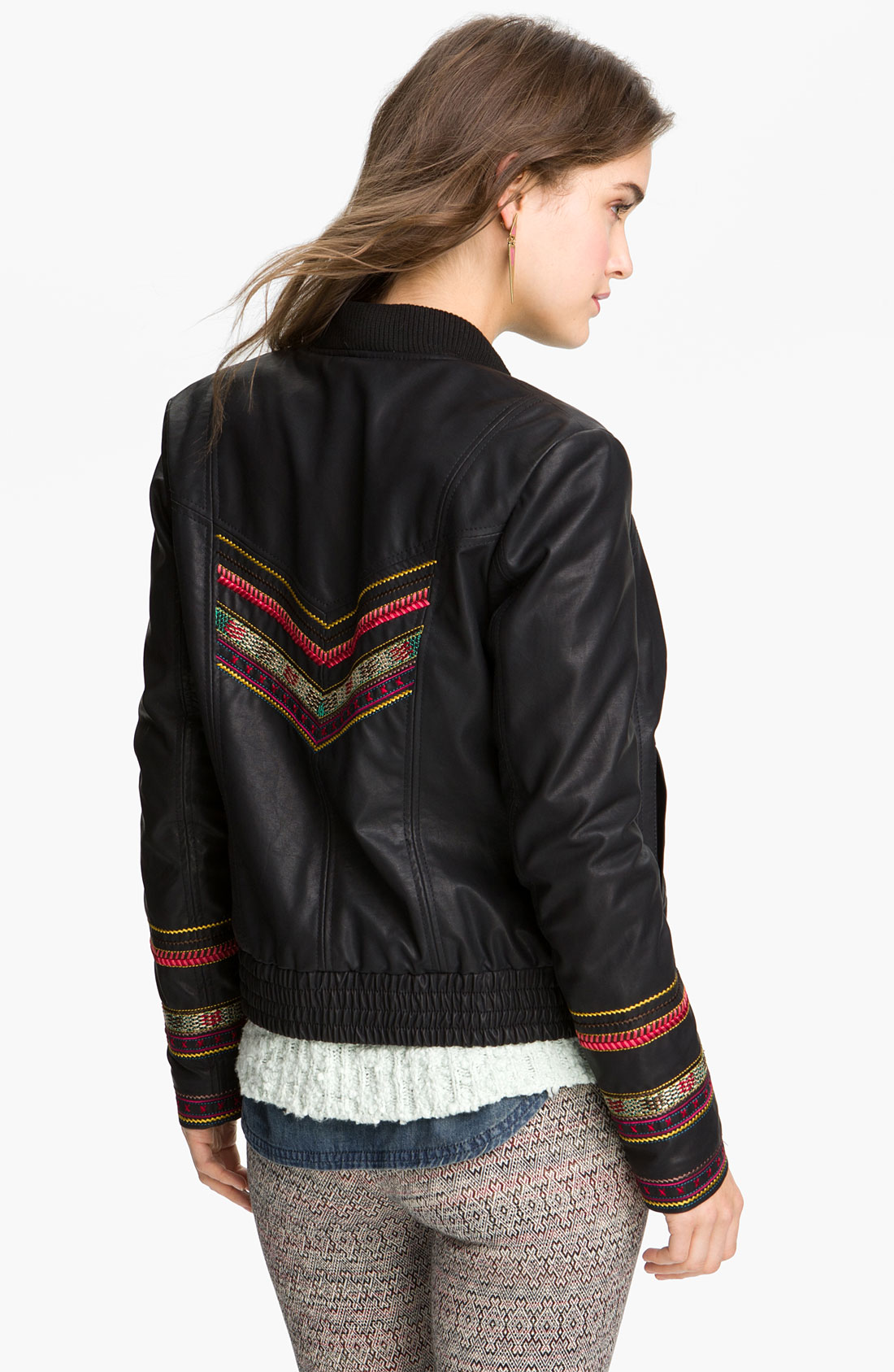 Lyst free people embroidered faux leather jacket in brown