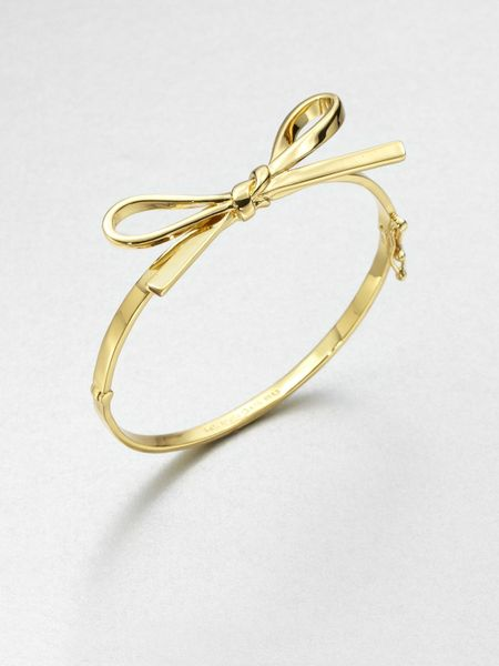 Kate Spade Skinny Bow Bangle Bracelet in Gold - Lyst