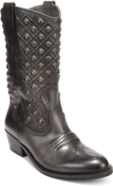 Lucky Brand Madonna Western Boots In Gray Dark Ash Grey