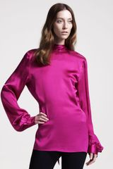 Maison Martin Margiela Backtie Satin Blouse - Lyst