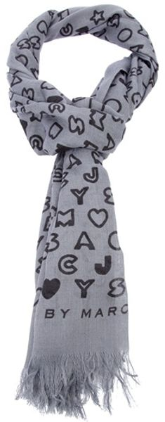 Marc By Marc Jacobs Logo Embellished Shawl Scarf in Gray (grey) - Lyst