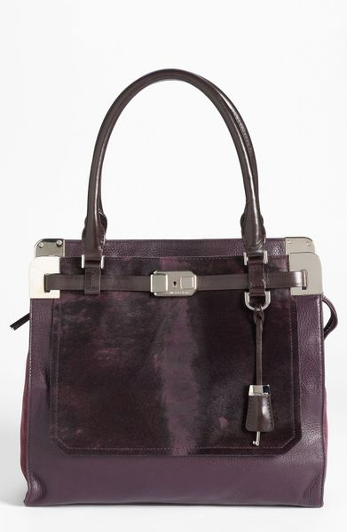 Michael Kors Blake Leather Genuine Calf Hair Satchel in Purple (blackberry cheetah) - Lyst