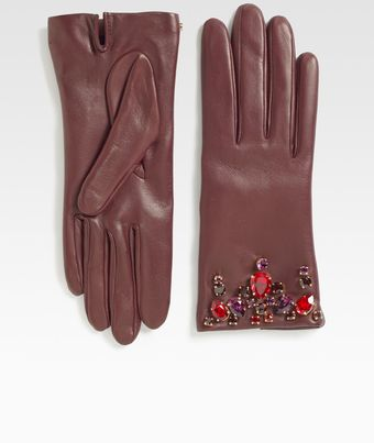 Prada Swarovski Crystal Leather Glovesbordeaux - Lyst