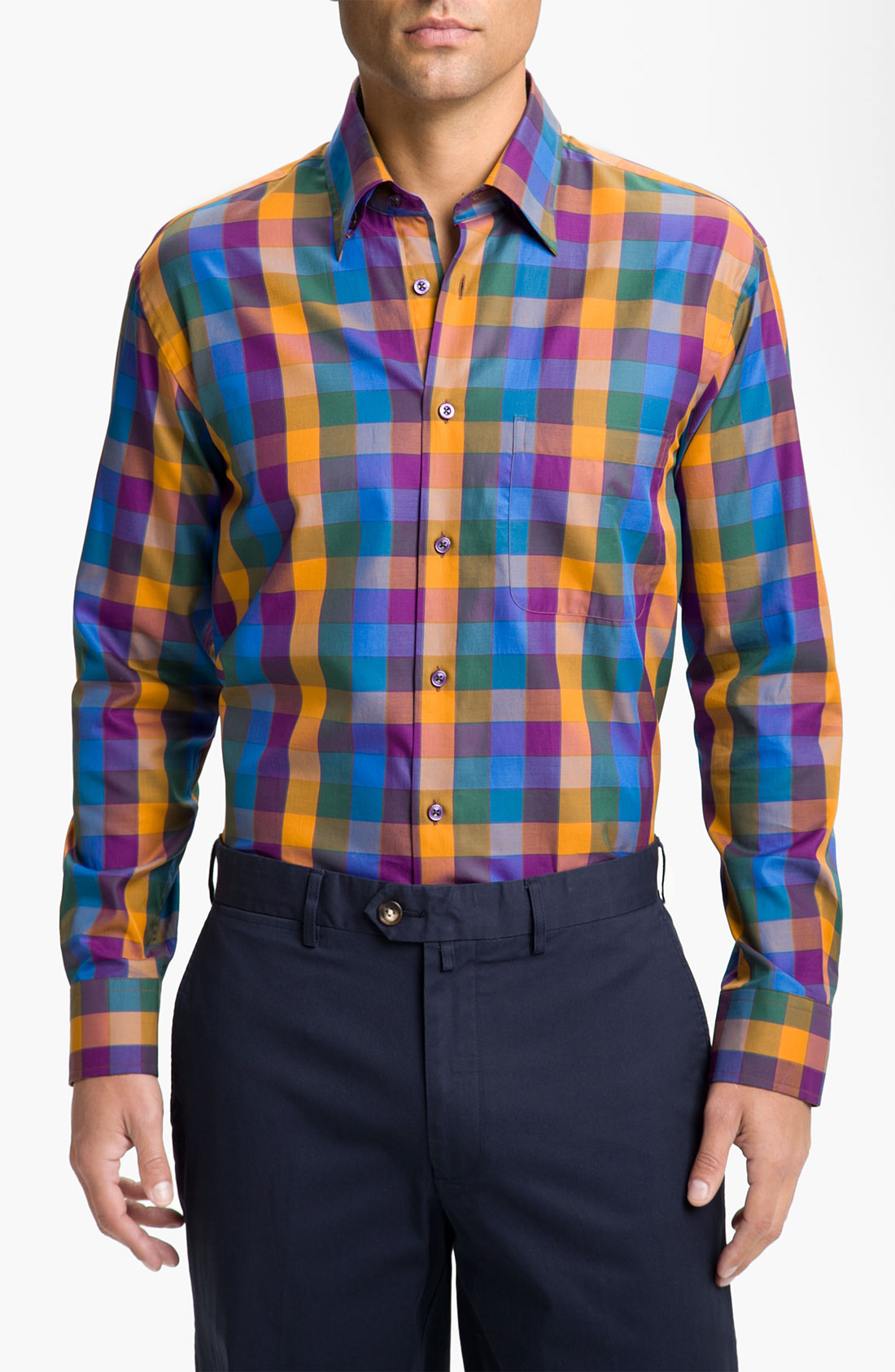 Robert talbott regular fit sport shirt in multicolor for for Robert talbott shirts sale