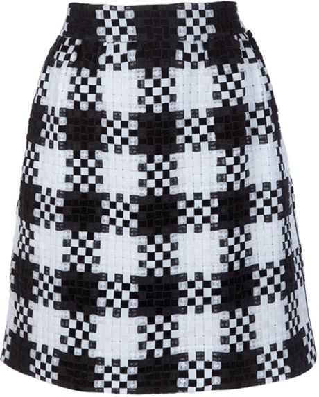 Valentino Checkered Skirt in Black - Lyst