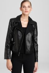 DKNY Long Sleeve Leather Jacket with Insets - Lyst