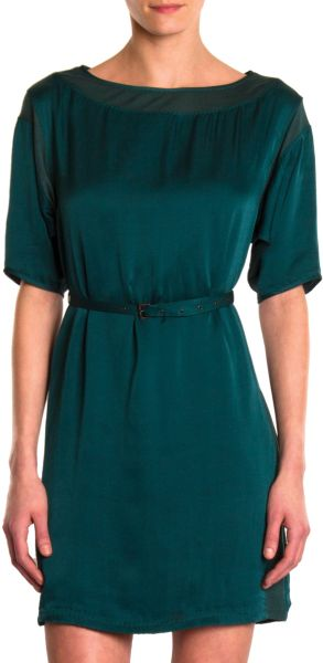 Lanvin Belted Dress in Green (teal) - Lyst
