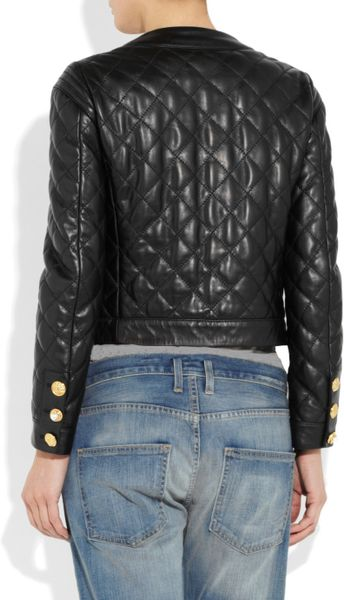 Moschino Quilted Leather Jacket In Black Lyst