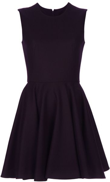 Alexander Mcqueen A Line Dress in Black (aubergine) - Lyst