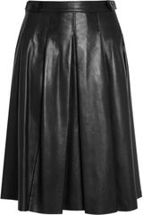 Burberry Pleated Leather Skirt in Black - Lyst