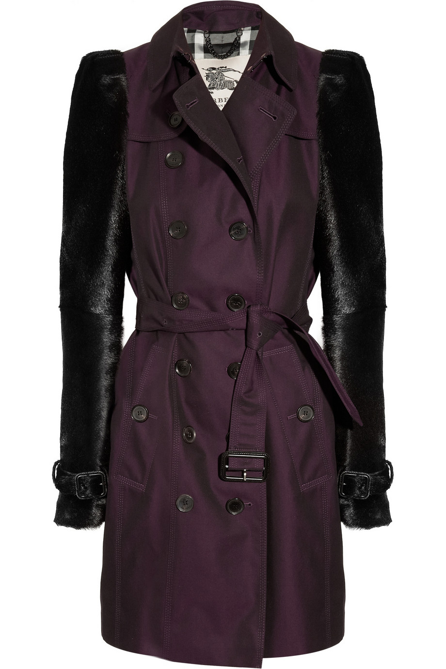 burberry midlength cottongabardine and goat hair trench coat in purple plum lyst. Black Bedroom Furniture Sets. Home Design Ideas