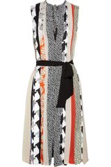 Diane Von Furstenberg Isobel Mixed Print Pleated Silk Dress - Lyst