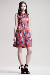 Jonathan Saunders Dias Pleated Floralprint Dress - Lyst