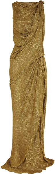 Lanvin Draped Lamé Gown in Gold - Lyst