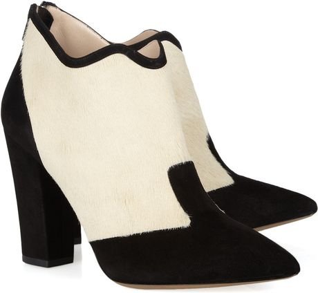 Nicholas Kirkwood Rabbit lined Feather and Suede Boots in Black