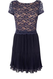 Oasis Pleated Crop Lace Dress - Lyst
