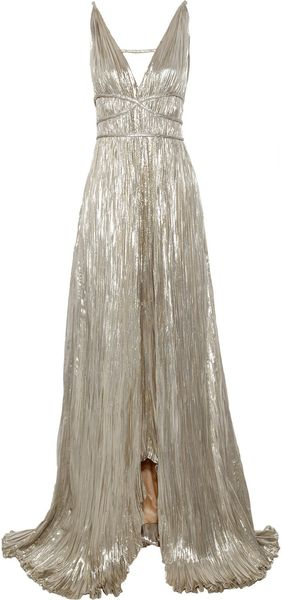 Oscar De La Renta Pleated Lamé Gown in Silver (gold) - Lyst