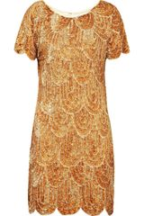 Rachel Gilbert Annabelle Sequined Satin Dress in Orange (rose) - Lyst