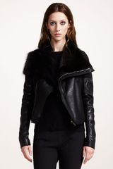 Rick Owens Furdetail Leather Jacket - Lyst
