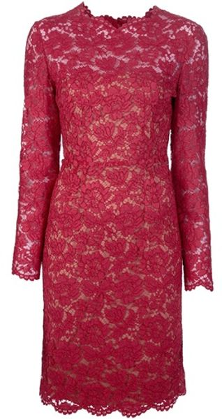 Valentino Scallop Edge Dress in Red - Lyst