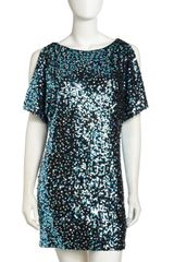 Aidan Mattox Cold-shoulder Sequin Dress - Lyst