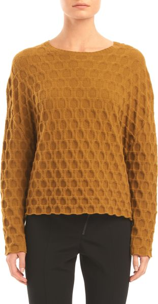 Alexander Wang Large Embossed Long Sleeve Crewneck Sweater in Brown (mustard)