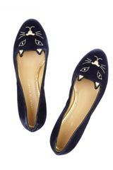 Charlotte Olympia Kitty Flat in Blue (navy) - Lyst