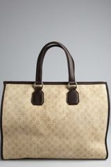 Gucci Beige Gg Canvas Leather Trim Tote in Beige for Men - Lyst