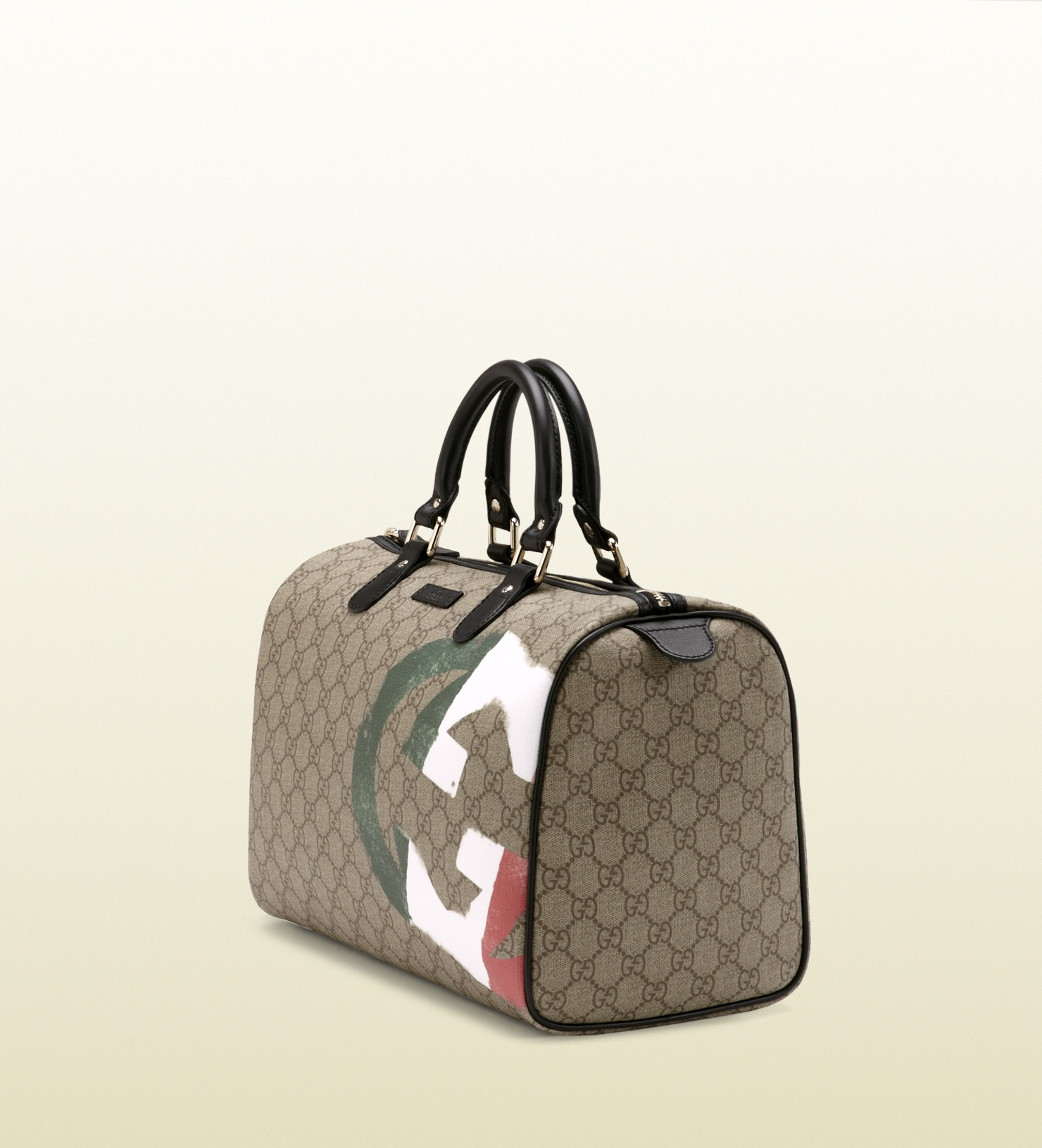 Lyst Gucci Italy Gg Flag Collection Boston Bag In Natural