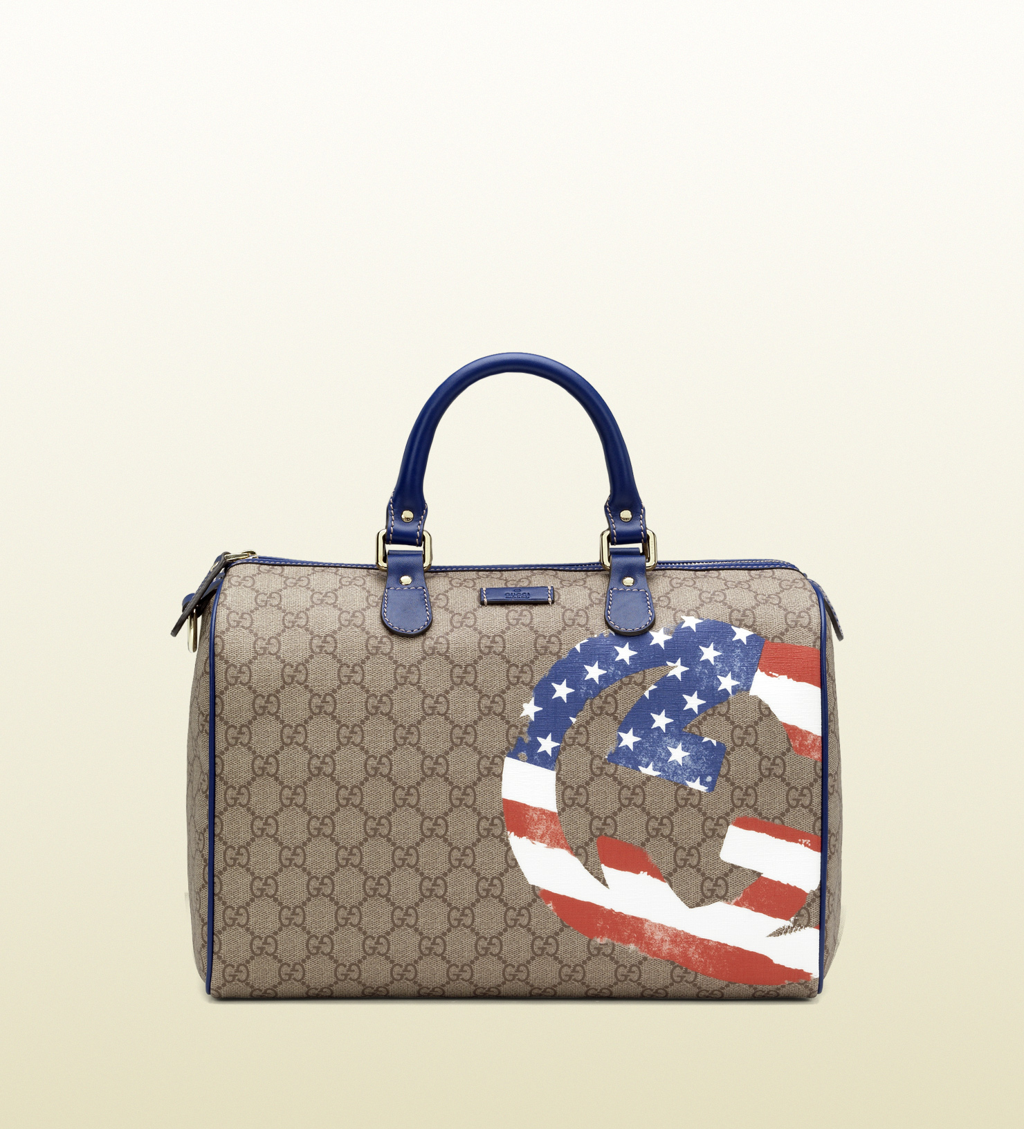 Lyst Gucci Usa Gg Flag Collection Boston Bag In Natural
